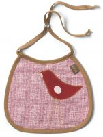Zebi Baby Red Dot Bird Linen Bib