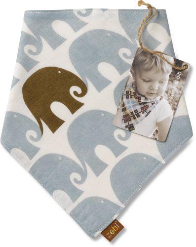 Zebi Baby Elephant Kerchief Bib