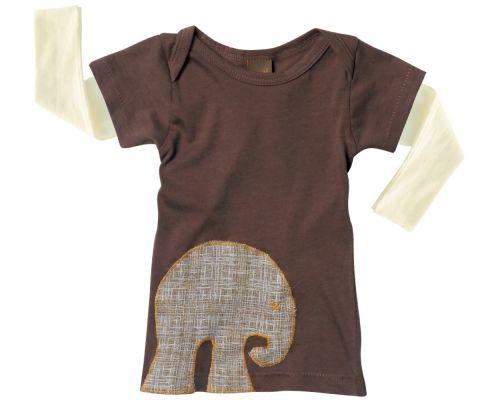 Zebi Baby Mocha Elephant Long Sleeve  Tee - 100% organic cotton