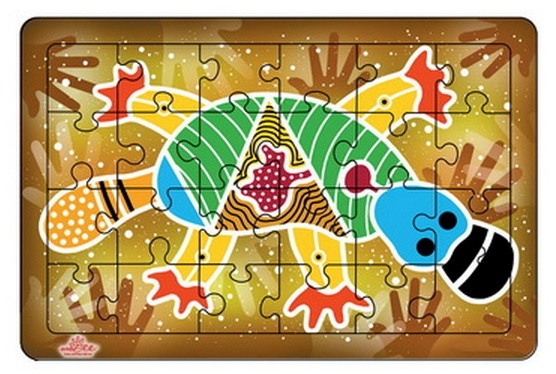Platypus Wooden Puzzle - Australian Aboriginal Art - Toddler Toy