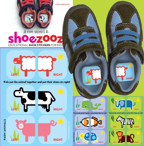 shooezooz- education shoe stickers for kids - toddler gift idea - not another baby shop